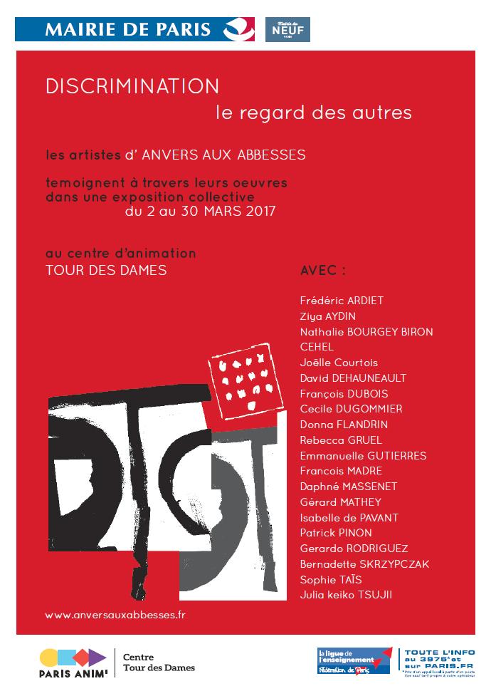 Affiche expo collective - Discrimination Le regard des autres - Tour des Dames mars 2017