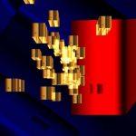 gold for Shanghai 2 peinture compuart sous plexiglass au carbone sur alluminium 120 x 120 cm