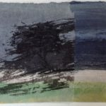 Collage,huile sur papier et lavis 23,5x38