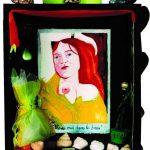 """""""Ave Maria"""" boite noire 23x20x6cm aquarelle,coquillages,bijoux,photos"""