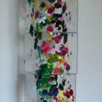 tour décomposé, 5 cubes 20 x 20 x20cms acrylique sur papier sur plexiglas 2011