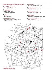 Le plan 2017 des ateliers des artistes lauréats des Emiles depuis leur création (2000)