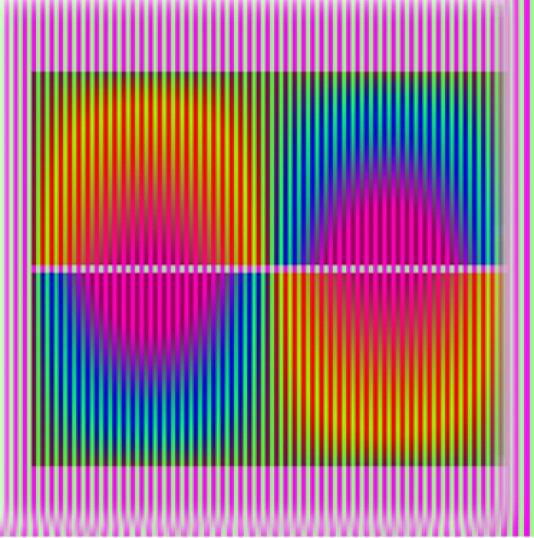 """""""Induction complémentaire ou polaire"""" ; encre sur plexiglas, 60x60cm. 2016"""