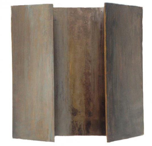 « Sans titre ».  Peinture à l'huile sur structure de bois et métal, 25 cm x 25 cm x 5 cm, 2014