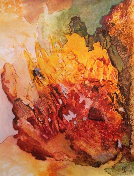 Caldera 2015, acrylique sur papier, 50x65
