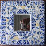 Miroir Gien bleu,mosaïque, 26,5x26,5cm, 2014
