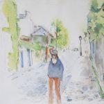Balade rue des Saules - 2012. Aquarelle, 45 x 37 cm.