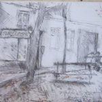 La rentrée Place Emile Goudeau - 2012. Fusain et pastel, 40 x 30 cm.