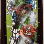 MJ,toile kakemono tech mixte, 133x56cm, 2009