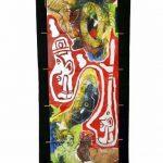 ENCADREUR ENCADRE avec Yvon Taillandier,toile kakemono tech mixte, 133x56cm, 2009