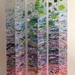 podium, 3 tours 17 x 17 x 1m50cms max, acrylique sur papier sur plexiglas 2010