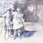 Uroma, Ursula, Helga, Karl-Heinz, aquarelle sur papier, 29 x 20 cm